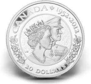 2012 $20 Queen Elizabeth and Prince Philip Diamond Jubilee Silver Coin