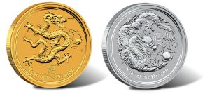 Australian 2012 Year of the Dragon Gold and Silver Bullion Coins