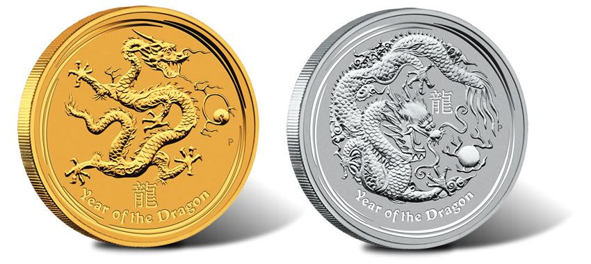 Australian 2012 Year Of The Dragon Gold And Silver Bullion