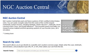 NGC Auction Central search tool