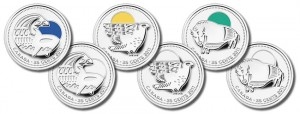 Parks Canada Centennial Commemorative Circulation Coins - Orca, Peregrine Falcon and Wood Bison