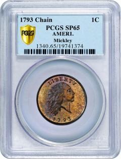 1793 AMERI. Chain Cent PCGS Secure Plus SP65