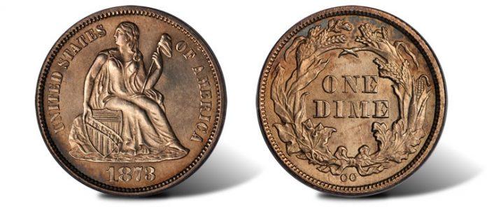 1873-CC Liberty Seated No Arrows Dime