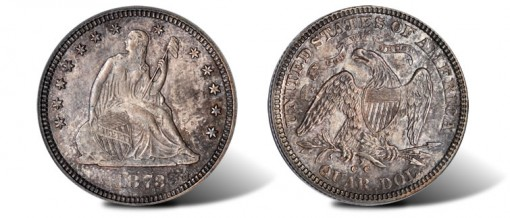1873-CC Liberty Seated No Arrows Quarter