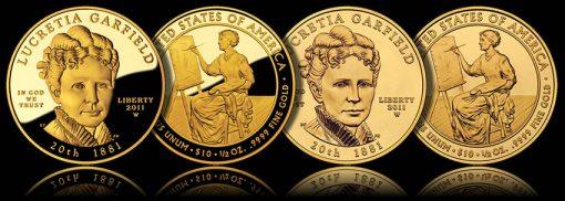 2011 Lucretia Garfield First Spouse Gold Coins