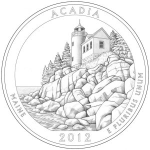 Acadia National Park Quarter and Silver Coin Design