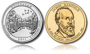 Chickasaw Quarter and Garfield Dollar Coin