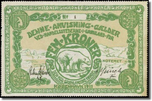 GREENLAND Den Kongelige Gronlandske Handel 5 Kroner
