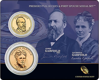 Garfield Presidential $1 Coin First Spouse Medal Set