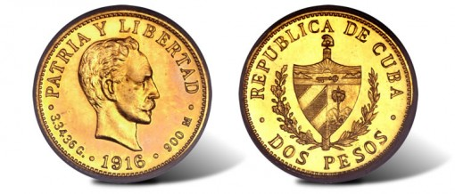 Republic gold 2 Pesos 1916
