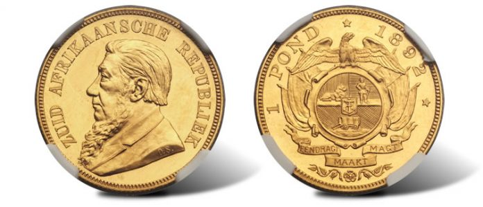 South Africa Republic gold Proof Pond 1892