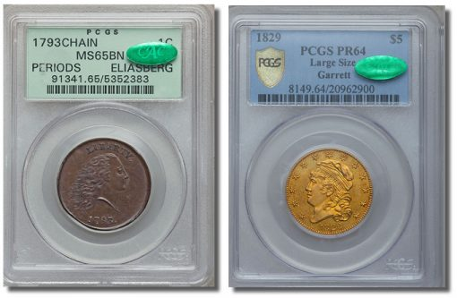 1793 Chain cent PCGS MS65 Brown and 1829 $5 PCGS Secure Plus PR64