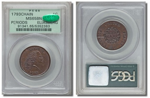 1793 S-4 chain cent, PCGS MS65