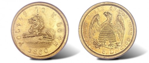 1860 Mormon five dollar coin