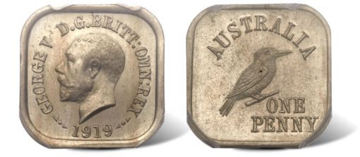 1919 George V copper-nickel pattern Kookaburra penny