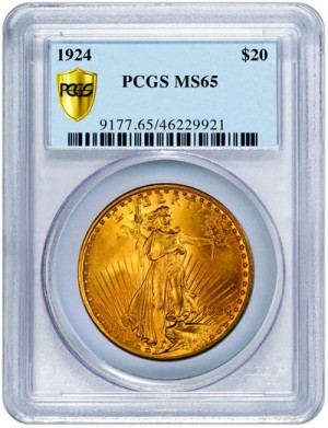 1924 $20 Saint-Gaudens Double Eagle MS65