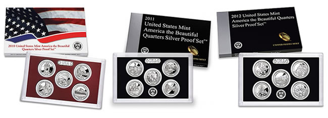 2010-2012 America the Beautiful Quarters Silver Proof Sets