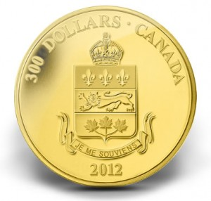 2012 $300 QUEBEC COAT OF ARMS GOLD COIN