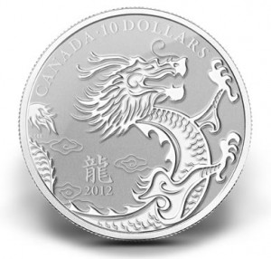2012 YEAR OF THE DRAGON $10 SILVER COIN