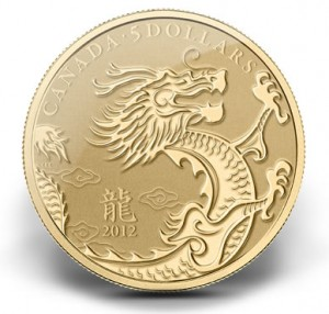 2012 YEAR OF THE DRAGON $5 GOLD COIN