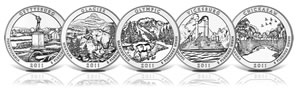 2011-dated America the Beautiful Five Ounce Silver Uncirculated Coins