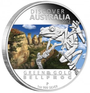 Green and Gold Bell Frog Silver Proof Coin
