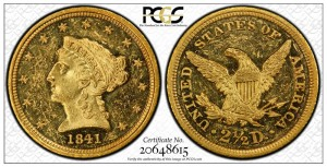 circualtion strike 1841 Quarter Eagle PCGS MS61