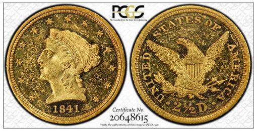 circualtion strike 1841 Quarter Eagle PCGS MS61