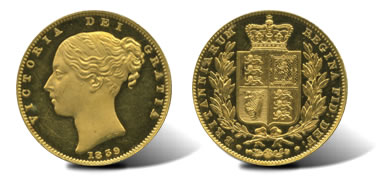 1839 Victoria (1837-1901), Proof Gold Sovereign