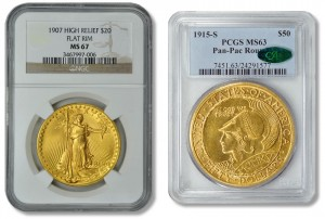 1907 Saint-Gaudens Double Eagle High Relief and 1915-S Panama-Pacific Exposition $50 Round