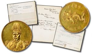1916 Chinese Dragon Gold Dollar and U.S. Mint Receipts