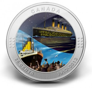2012 25-CENT RMS TITANIC COLOURED COMMEMORATIVE COIN