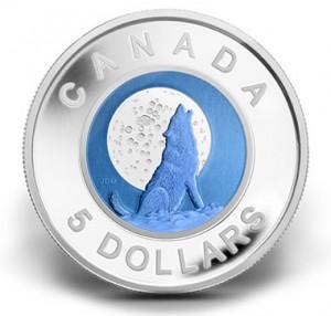 2012 $5 WOLF MOON SILVER AND NIOBIUM COIN