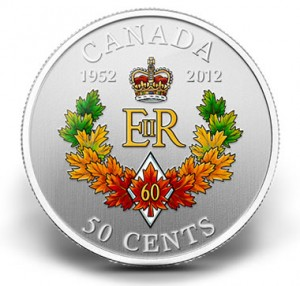 2012 50-CENT ROYAL CYPHER DIAMOND JUBILEE SILVER-PLATED COIN