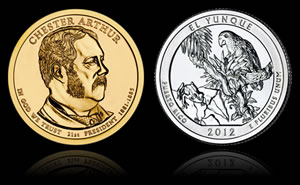 2012 Chester $1 Coin and El Yunque Quarter