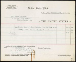 U.S. Mint receipt dated November 25, 1921