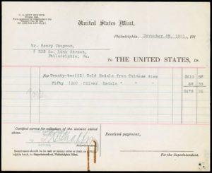 U.S. Mint receipt dated November 25, 1921