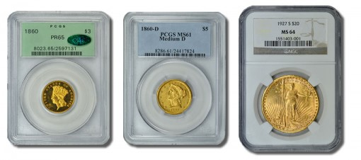 1860 $3 Gold Piece, 1860 Liberty Half Eagle and 1927-S Double Eagle