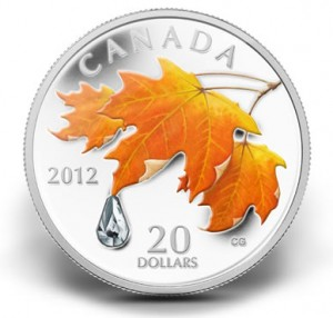 2012 $20 Sugar Maple Leaf Cyrstal Raindrop Silver Coin