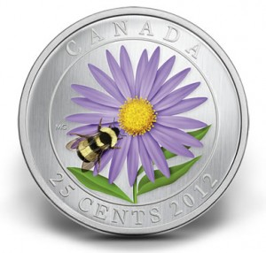 2012 25-Cent Aster with Bumble Bee Coloured Coin