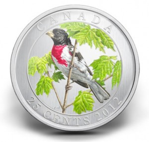 2012 25-Cent Rose-Breasted Grosbeak Coloured Coin