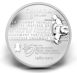 2012 $5 Rick Hansen Man in Motion Tour Anniversary Silver Coin