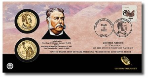 2012 Chester Arthur Presidential Dollar Coin Cover