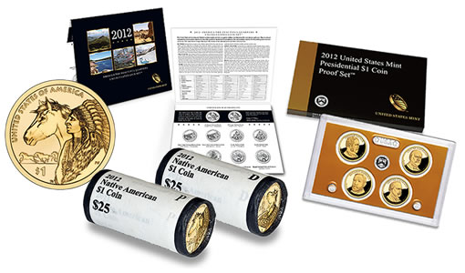 2012 Native American Dollars, Quarters Set, and $1 Proof Set