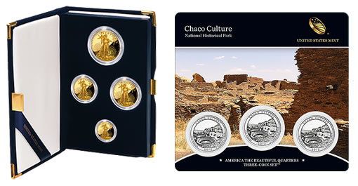 2012 Proof Gold Eagles and Chaco Culture Quarters Three-Coin Set