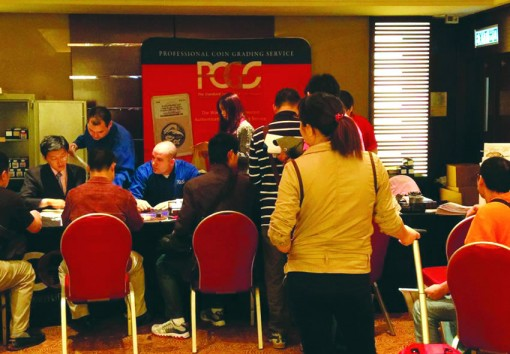 Busy PCGS booth, Hong Kong, April 2012