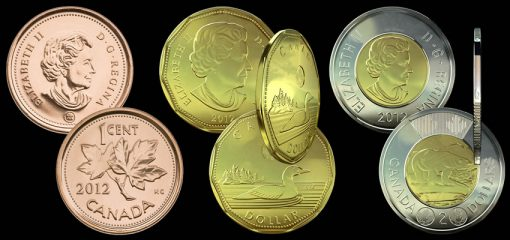 Canadian 2012 Penny, 2012 $1 Coin and 2012 $2 Coin