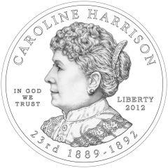 Caroline Harrison First Spouse Gold Coin Obverse Design