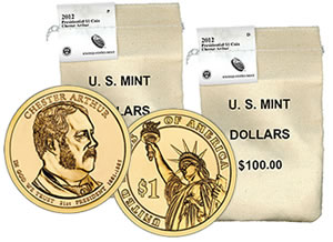 Chester Arthur Presidential $1 Coin Bags