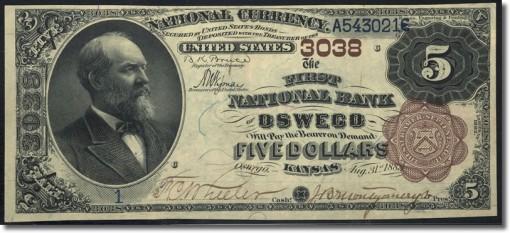 Oswego, KS - $5 1882 Brown Back Fr. 467